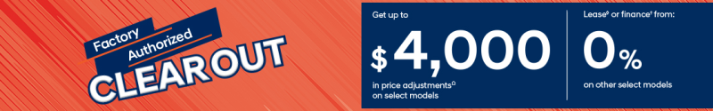 Factory Authorized Clearout Event get uo to $4,000* in price adjustments on select models at Ajax Hyundai