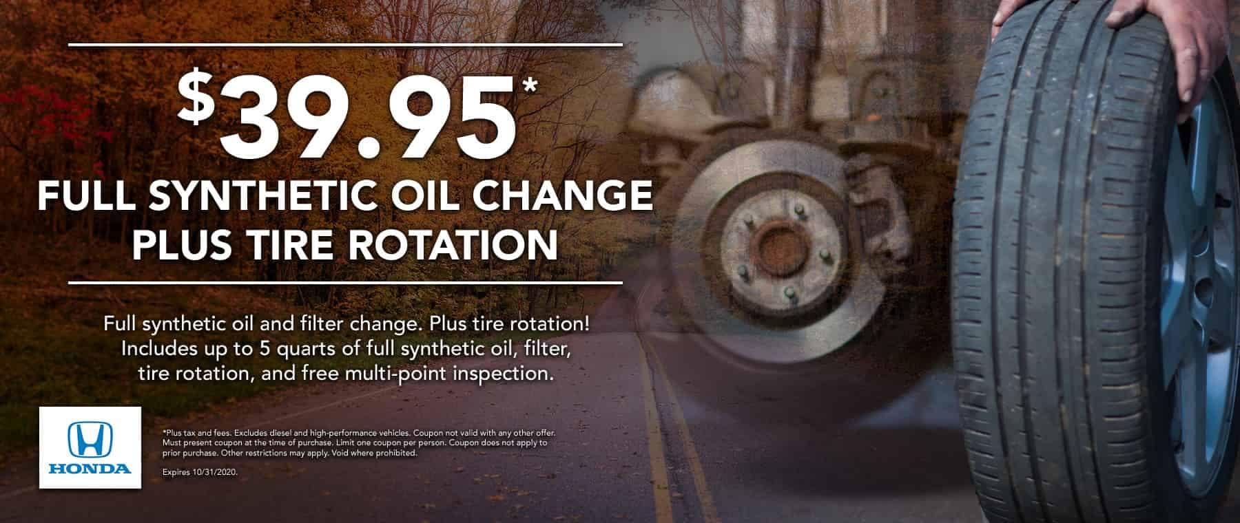 $39.95 Oil Change plus Tire Rotation