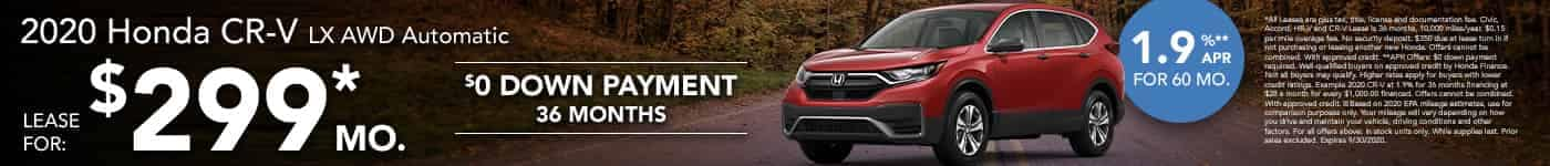 Lease a new CR-V for $299 per month