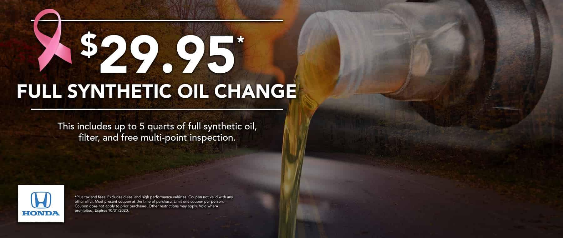 $29.95 oil change special