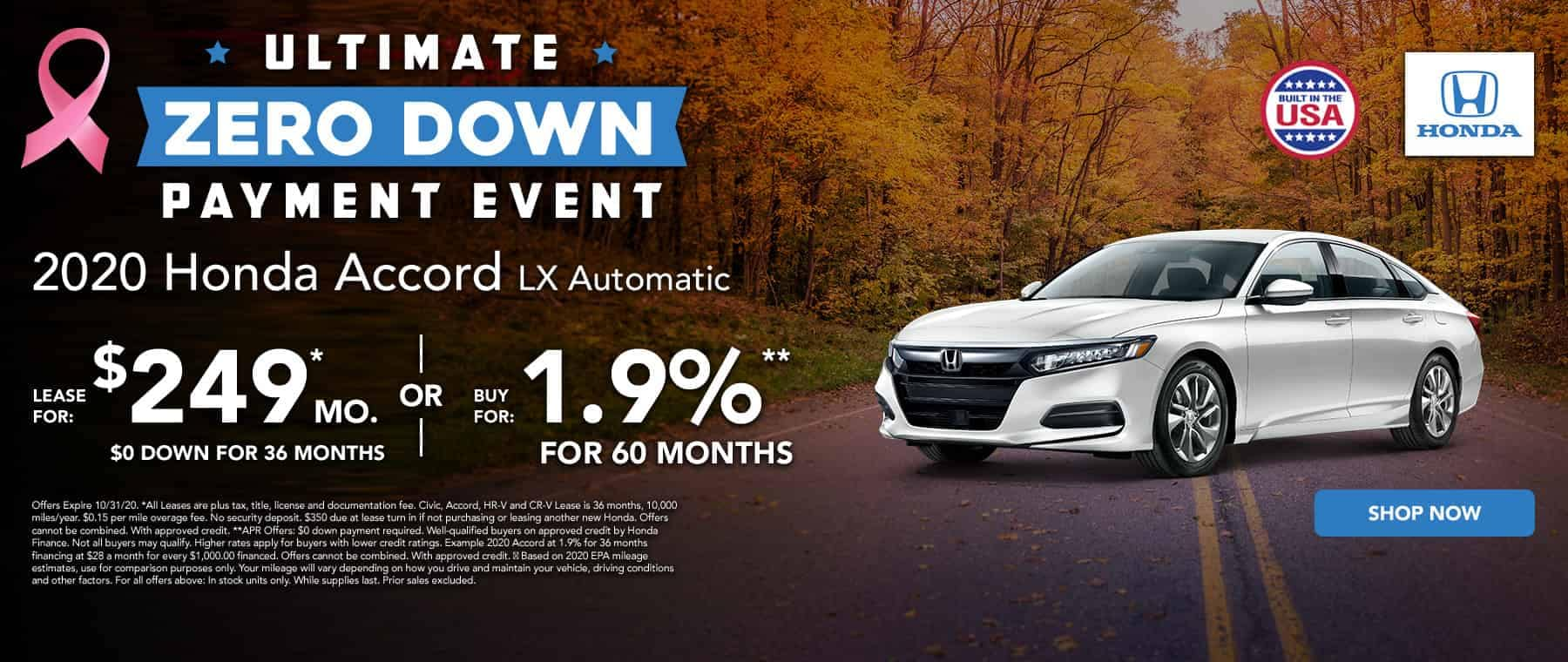 Lease a new Accord for $249 per month
