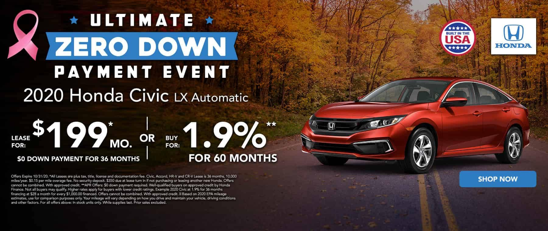 Lease a new Civic for $199 per month
