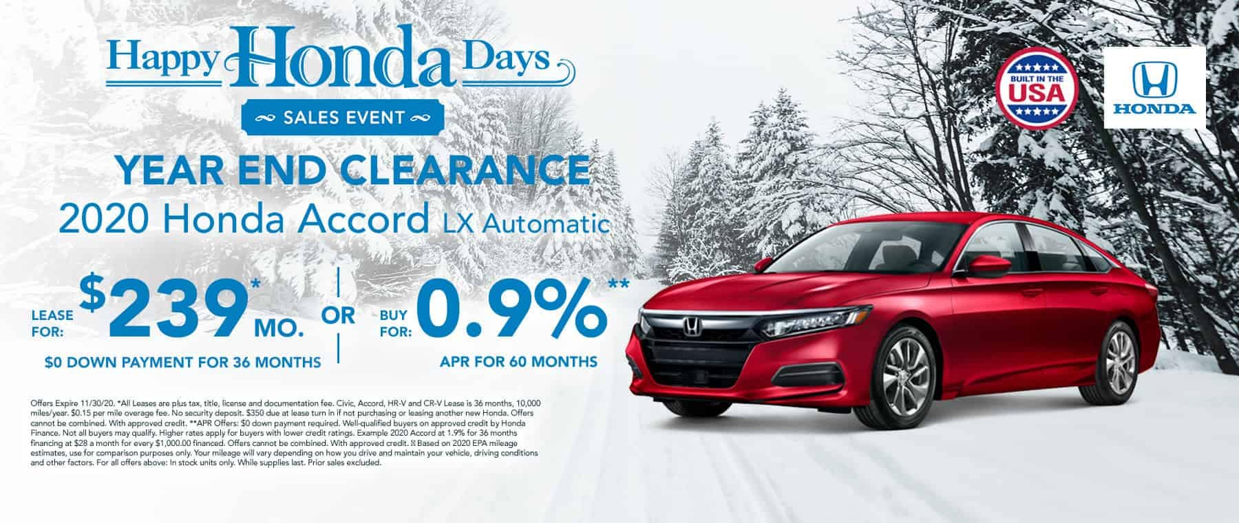 New Honda Accord for $239 per month
