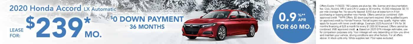 New Honda Accord $239 per month