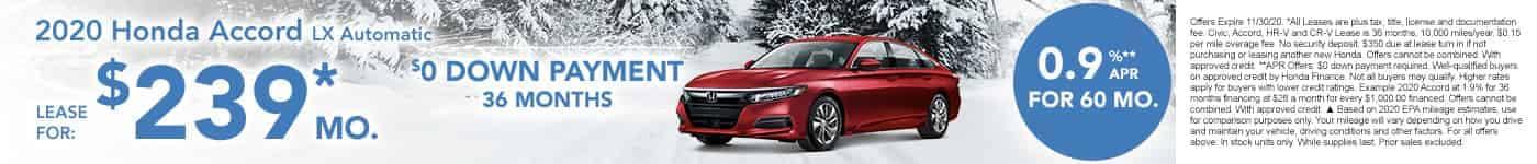 New Honda Accord $239 per month