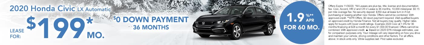 New Civic for $199 per month