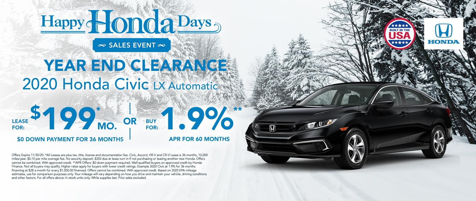New 2020 Honda Civic $199 per month