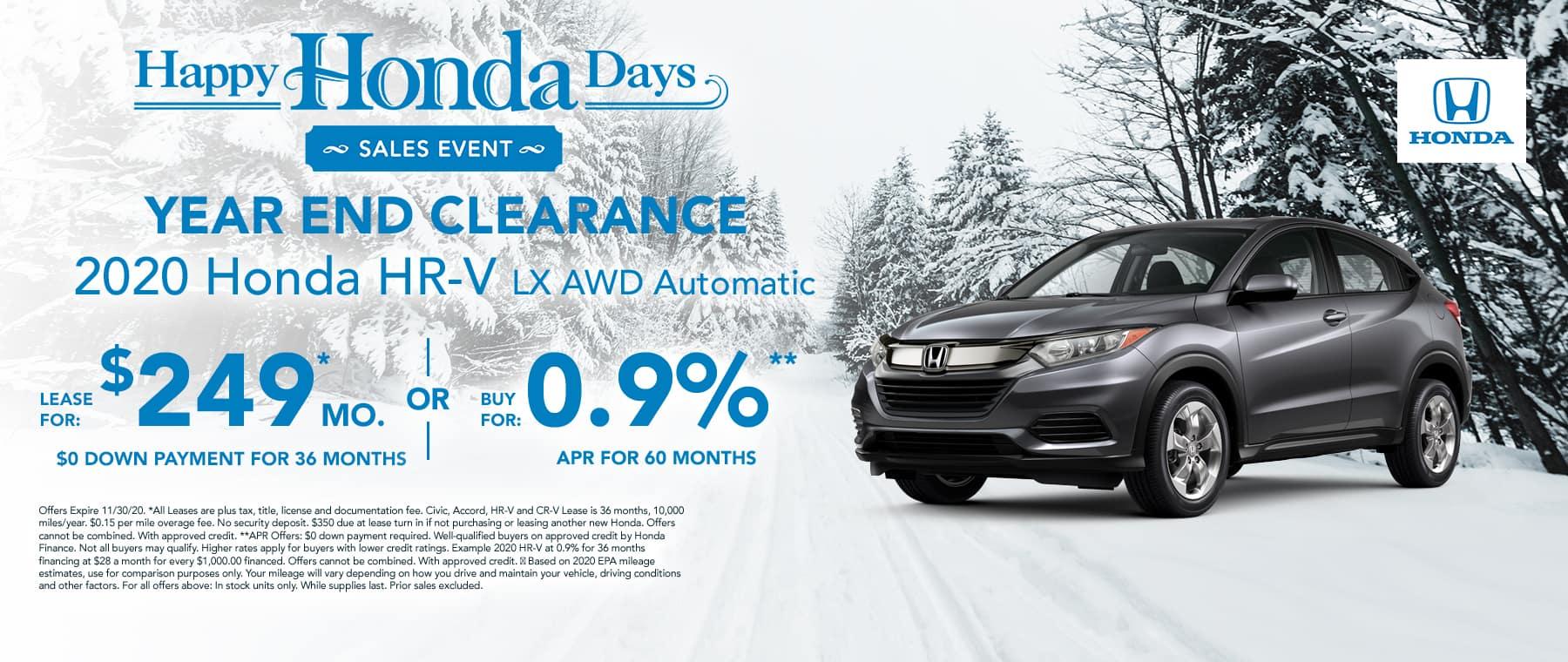 New Honda HRV for $249 per month