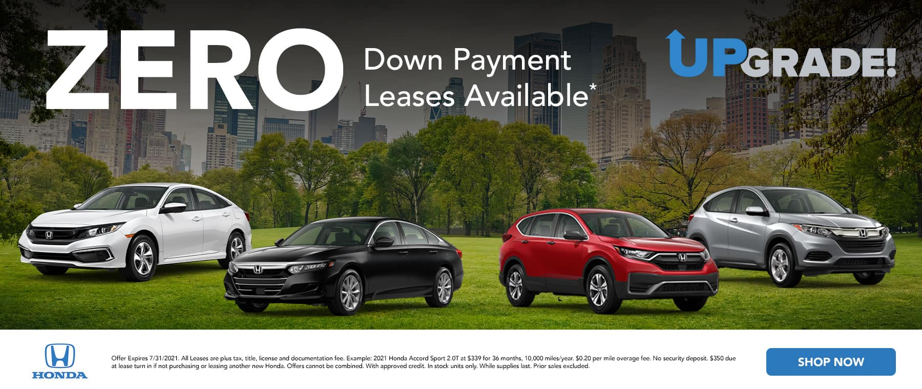 Zero down payment leases