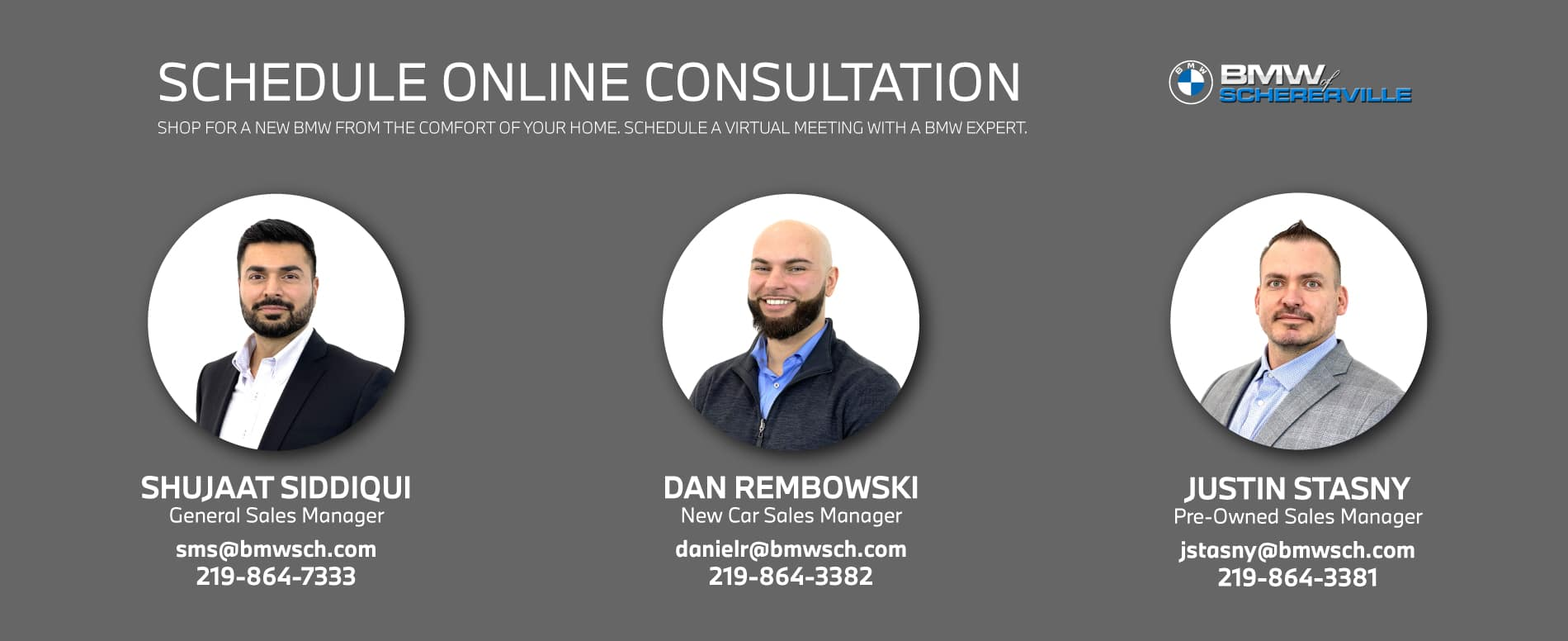 Schedule an Online Consultation: with Shujaat Siddiqui, Dan Rembowski, or Justin Stasny