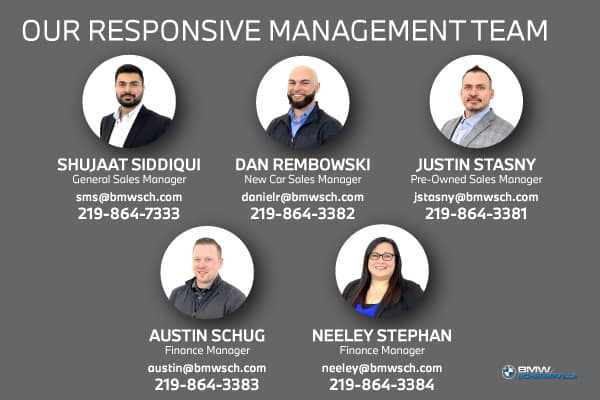 Graphic of BMW of Schererville's Management Team on a grey background, including Shujaat Siddiqui, Dan Rembowski, Justin Stasny, Austin Schug, and Neely Stephan