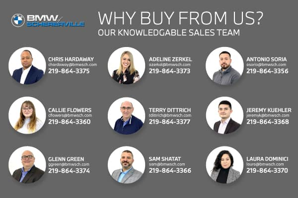 BMW of Schererville Staff including Chris Hardaway, Adeline Zerkel, Antonio Soria, Callie Flowers, Terry Dittrich, Jeremy Kuehler, Glenn Green, Sam Shatat, and Laura Dominici