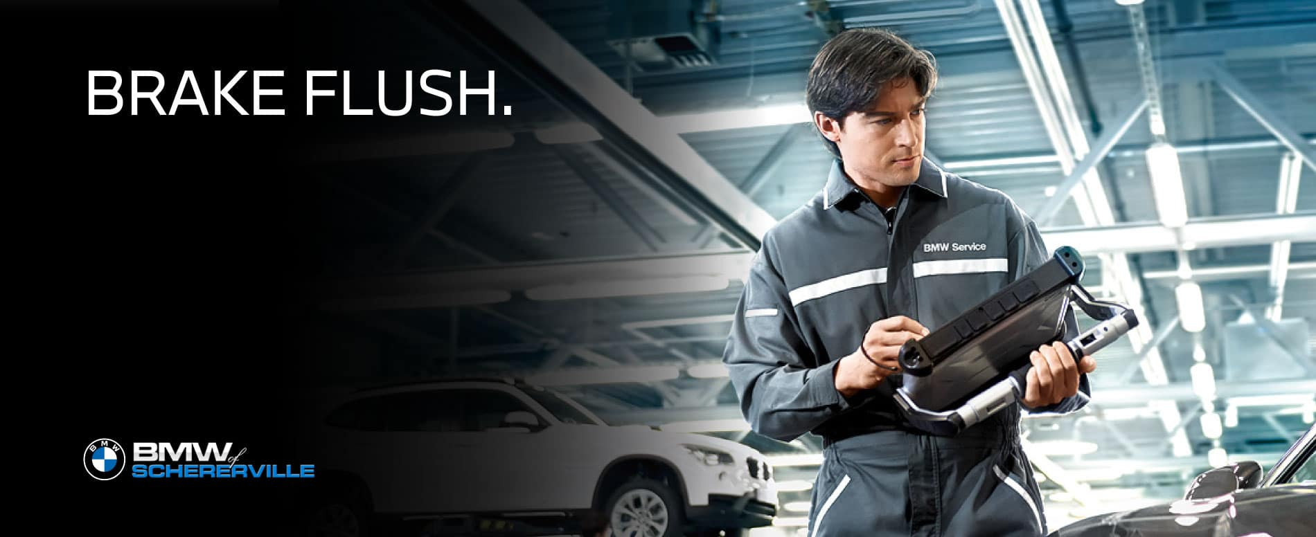 Image that reads 'Brake Flush' and has BMW Technician overlaid with monitoring device in hand