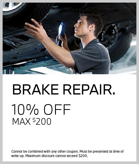Brake Repair Coupon: 10% OFF, max $200