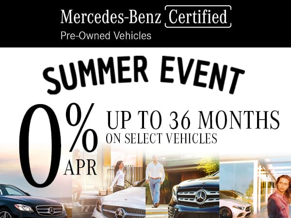0% APR For up to 36 Months on Select Mercedes-Benz Certified Pre-Owned Vehicles
