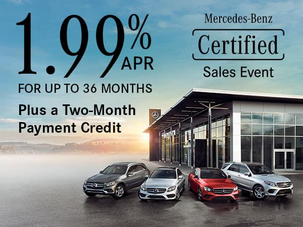 1.99% APR For up to 36 Months on Select Mercedes-Benz Certified Pre-Owned Vehicles