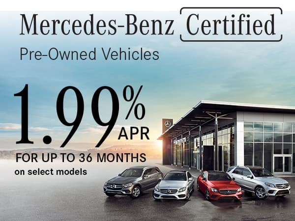 1.99% APR up to 36 months plus first months payment credit (on select models)