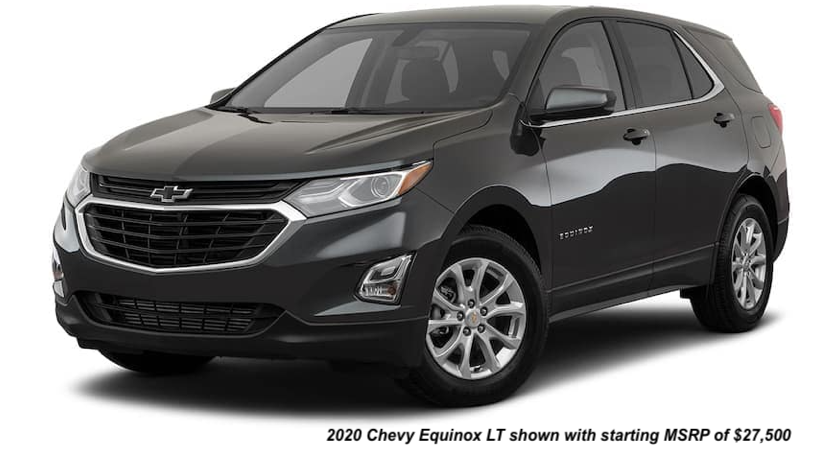 A black 2020 Chevy Equinox LT is angled left.