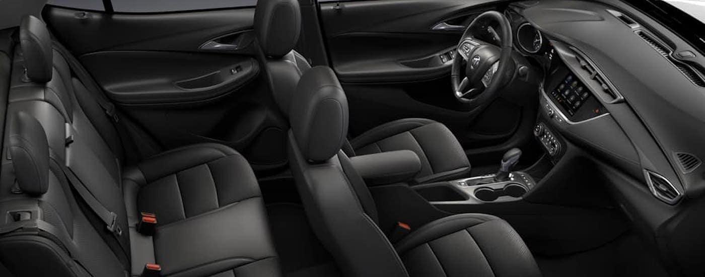 A view of the black interior is shown inside a 2020 Buick Encore GX from a high angle.