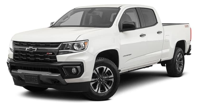 A white 2021 Chevy Colorado Z71 is angled left.