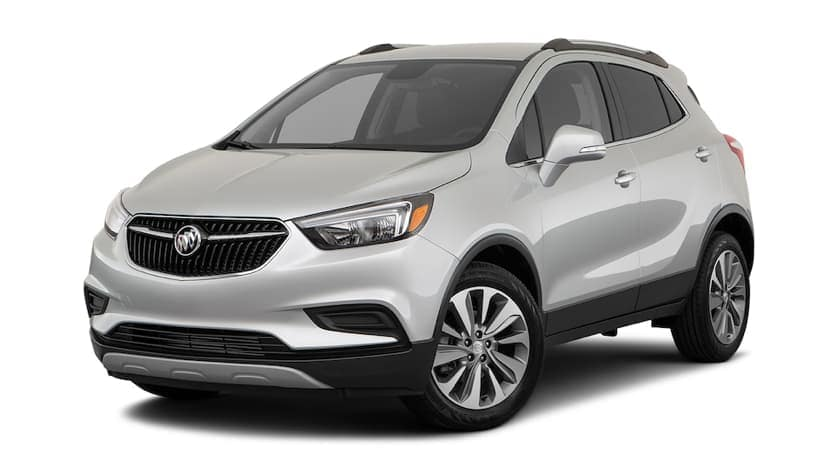 A silver 2021 Buick Encore is angled left.