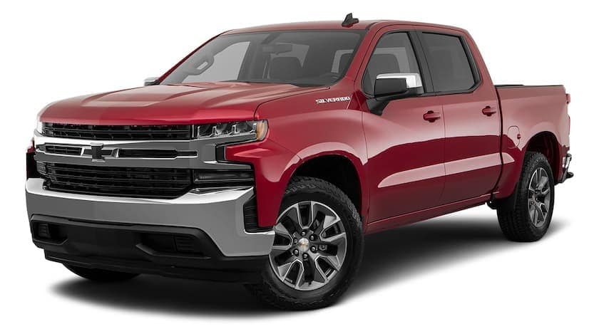 A red 2021 Chevy Silverado 1500 LT is angled left.