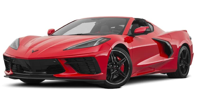 A red 2021 Chevy Corvette stingray is angled left.