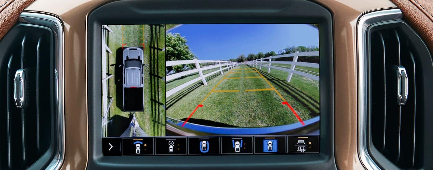 A close up is shown of the camera system on the infotainment screen of a 2021 Chevy Silverado 2500HD.