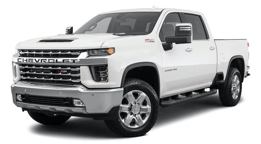 A white 2021 Chevy Silverado 2500HD is angled left.