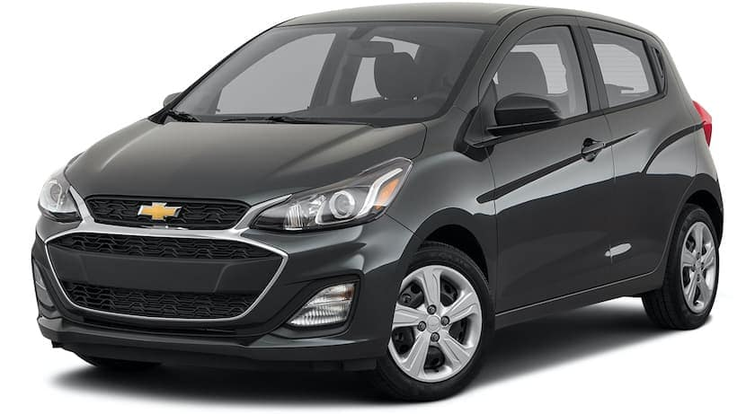 A black 2021 Chevy Spark is angle left.