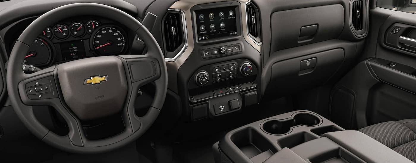 The black interior is shown on a 2021 Chevy Silverado 3500 HD Chassis Cab.