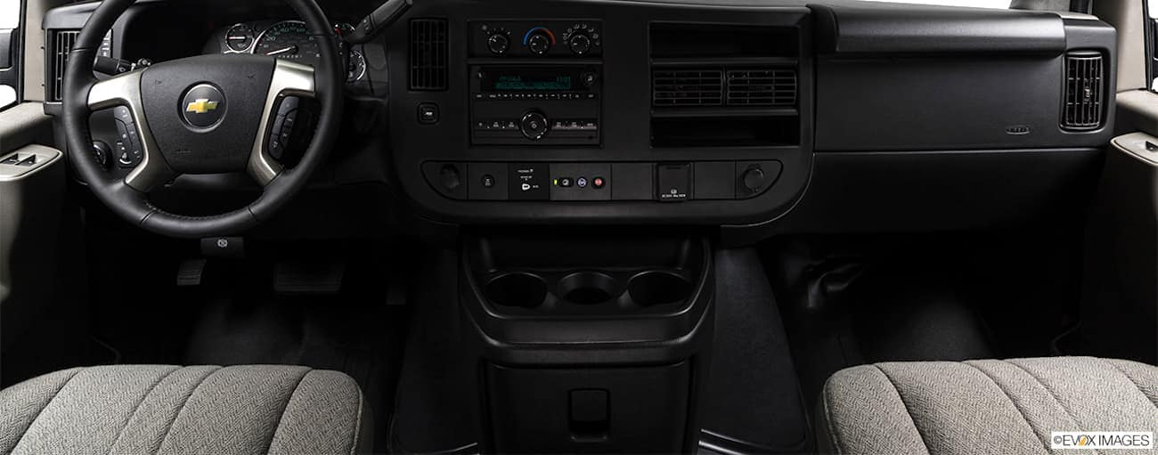 The dashboard is shown in a 2021 Chevy Express Van.