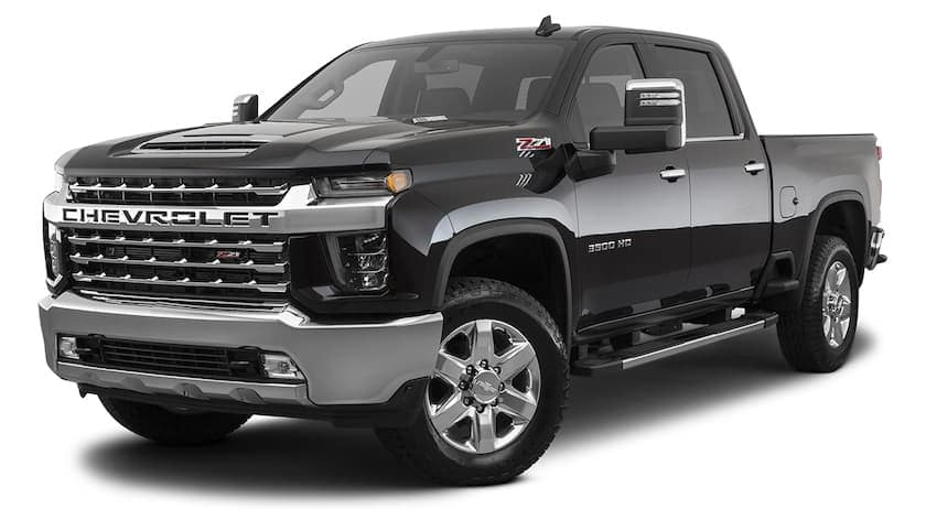 A black 2021 Chevy Silverado 3500HD is angled left.