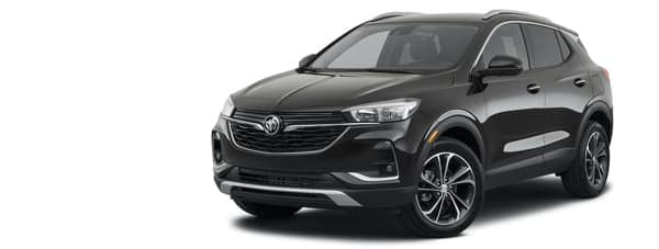 A black 2021 Buick Encore GX Select is angled left.