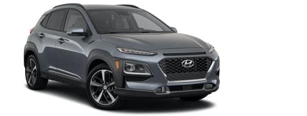 A dark grey 2021 Hyundai Kona Ultimate is angled right.
