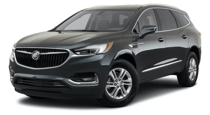 A black 2021 Buick Enclave Essence is angled left.