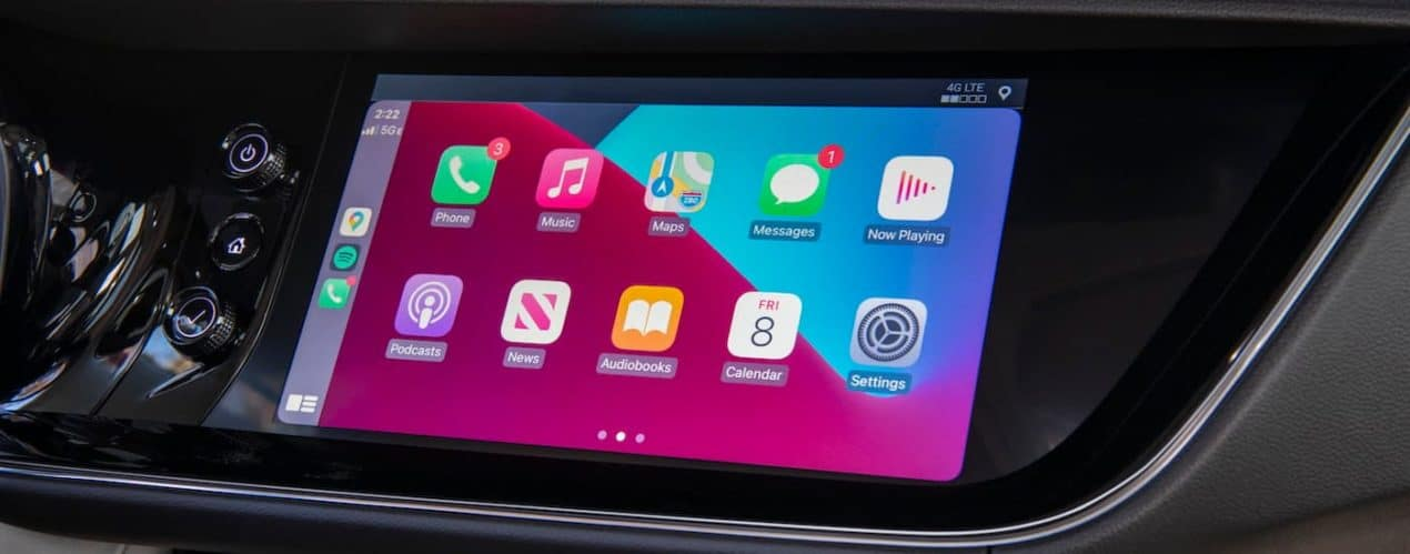 A close up shows the infotainment screen and apps in a 2021 Buick Envision Avenir.