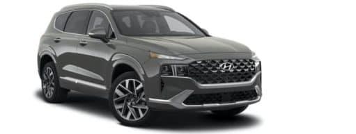 A grey 2021 Hyundai Santa Fe Calligraphy is angled right.
