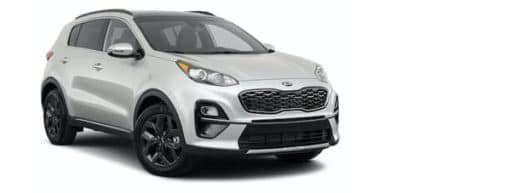 A silver 2021 Kia Sportage is angled right.
