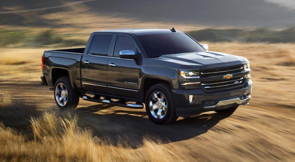 A black 2018 Chevy Silverado 1500 is driving though a hay field after looking for used trucks for sale near you.