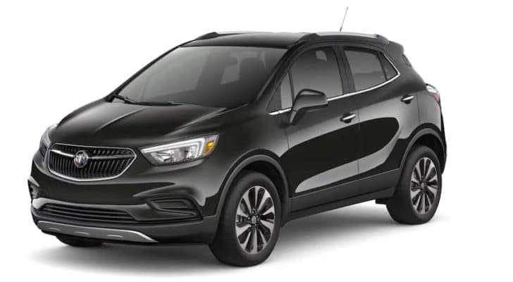 A black 2022 Buick Encore is angled left.