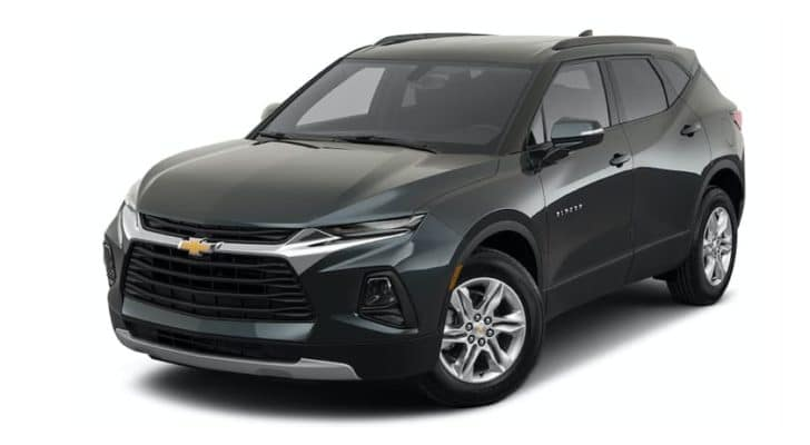 A grey 2022 Chevy Blazer is shown angled left.