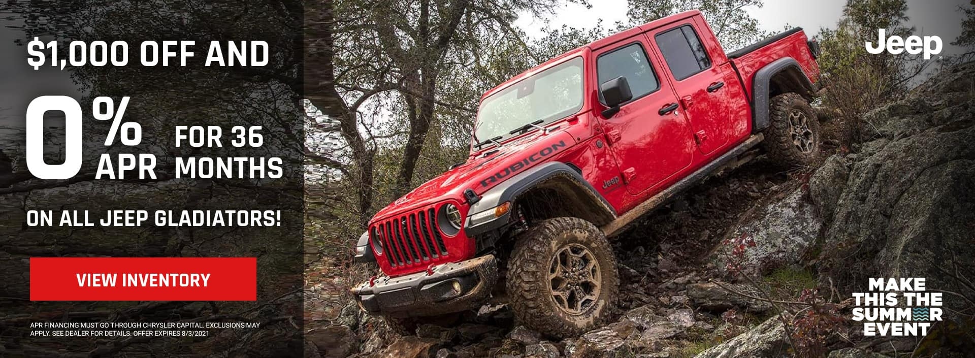$1000 off and 0% for 36 months on ALL JEEP GLADIATORS!