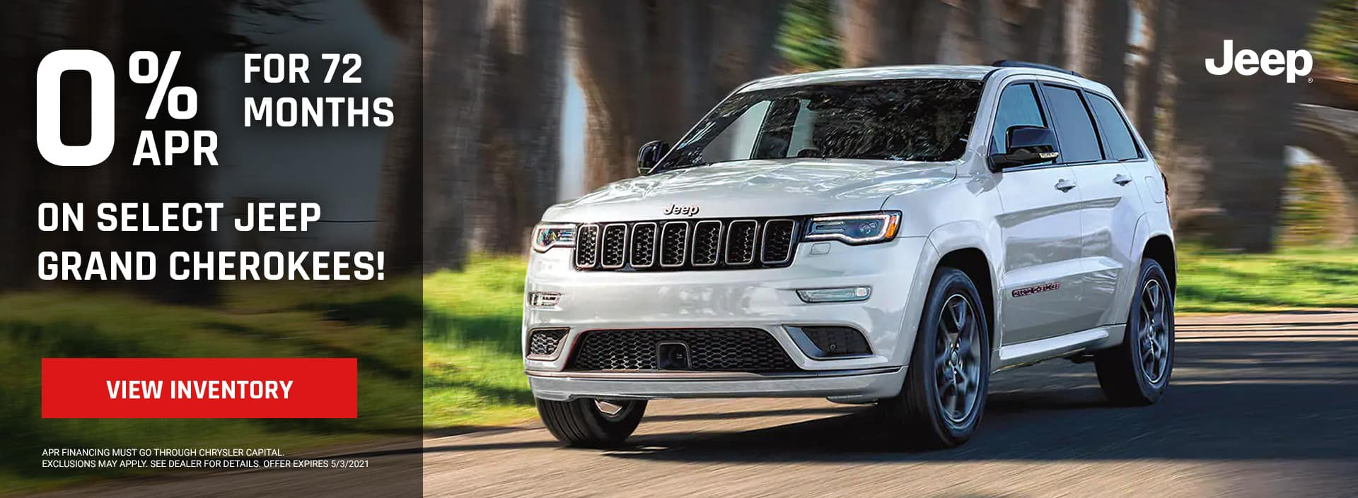 0% for 72 Months on select Jeep Grand Cherokees