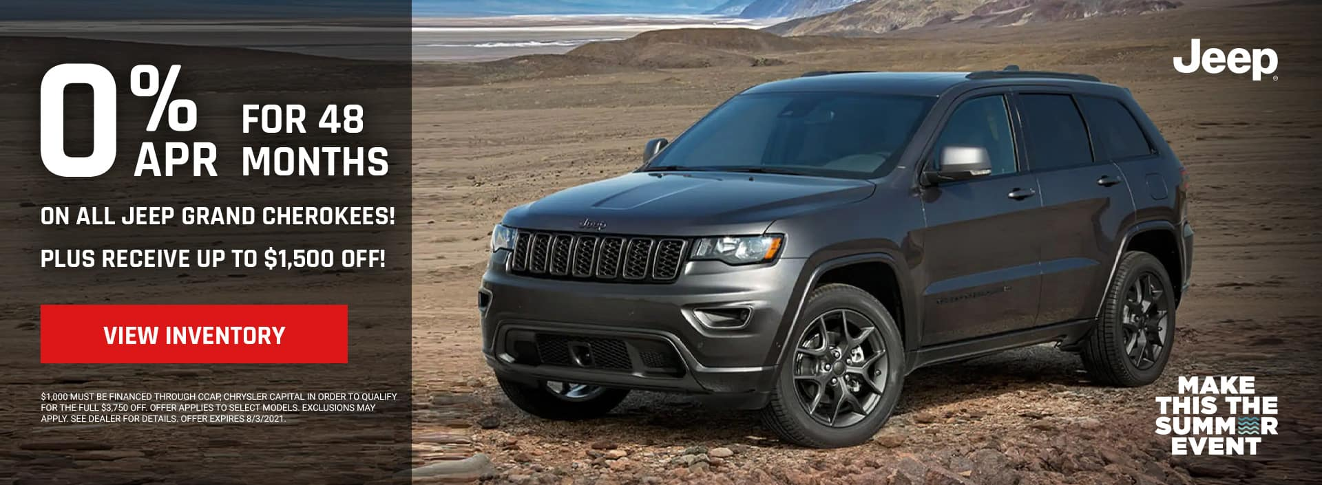 0% for 48 months on all Jeep Grand Cherokees!, Plus receive UP TO $1,500 off!