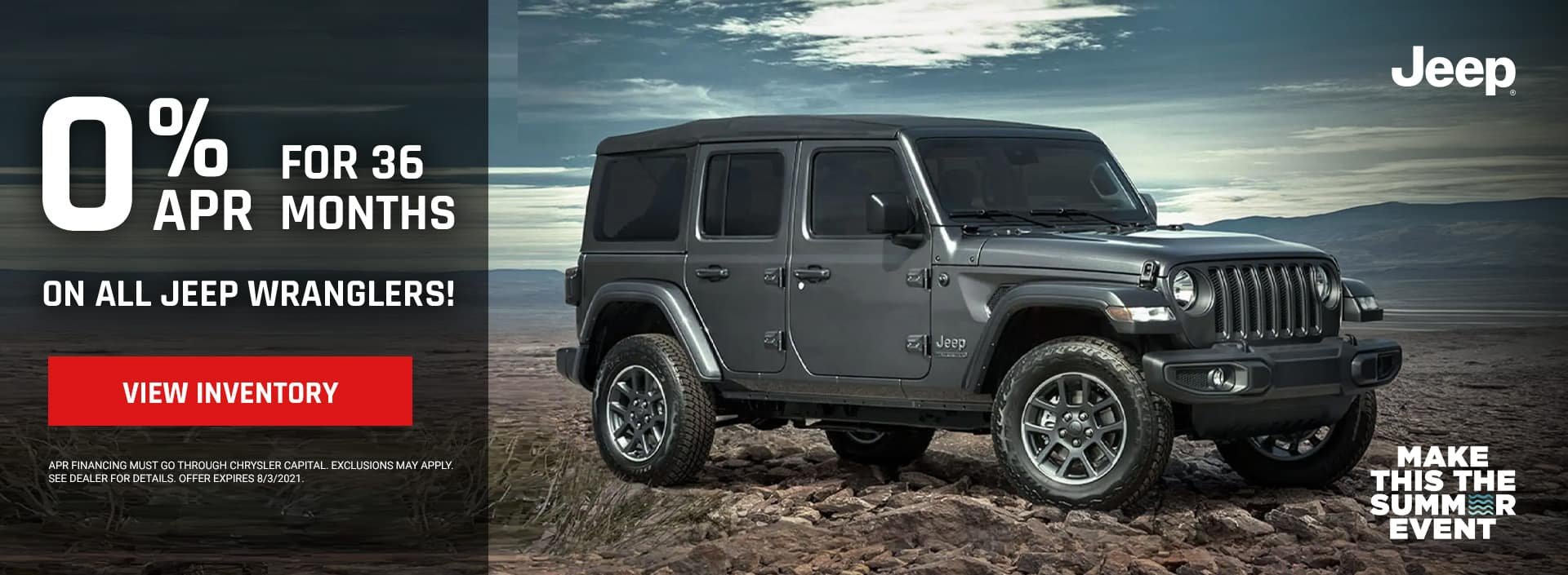 0% for 36 Months on all Jeep Wranglers!