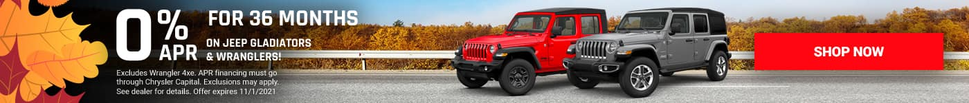 0% FOR 36 MONTHS on Jeep Gladiators & Wranglers!