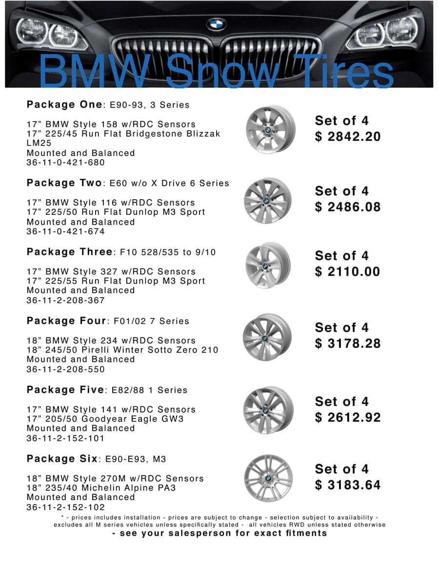BMW SNOW TIRES IN GREENWOOD, IN