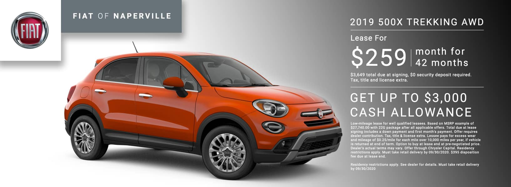 Lease a 2019 500X Trekking for $259/mo