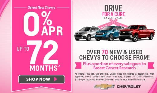 Select New Chevys 0% APR - Hero
